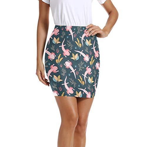 I·D Good Figure Womens Mini Short Bodycon Pencil Skirt Axolotl Print