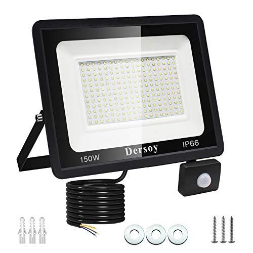 150W Foco con sensor de movimiento, IP66 Impermeable Foco LED Exterior con Sensor, Cable 1,5M 13500LM 6500K Luz Blanca Foco...