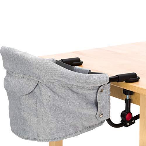 Faltbarer Tischsitz/Hochstuhl/Stuhlsitz in schönem Melange Design (Bis 15kg) Praktisch für Zuhause und Unterwegs (Grau Melange)