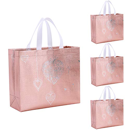 Gesodant Bling Glossy Glitter Durable Reusable Grocery Bag Tote Bag Handles Bag,Medium Non-woven Fashionable Present Bag Gift Bag,Goodies Bag Shopping Bag,Promotional Bag,Totes,Set Of 5 - Pink