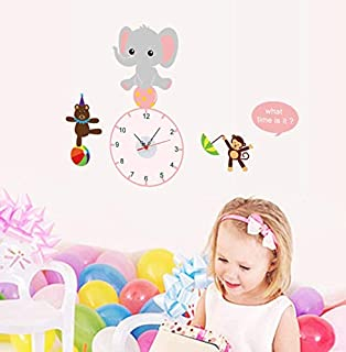 Fabulous décor - Real Wall Clock Decal with Elephant, Monkey & Bear Dancing for Kids and Nursery Room Art Premium Vinyl St...