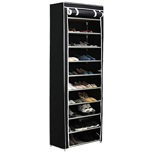 Function Home 10-Tier Shoe Rack with Dustproof Cover 30 Pair Shoe Organizer Shoe Rack Tower Zippered...