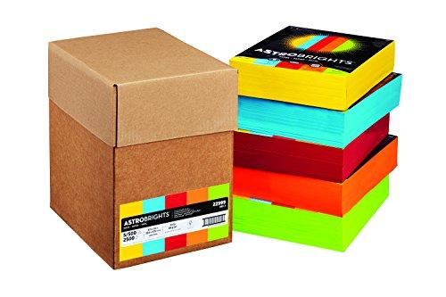 """Astrobrights Color Paper, 8.5""""x 11"""", 24 lb/89 gsm, 5-Color Mixed Carton, 500 Sheet Ream, 2500 Sheets (22999)"""