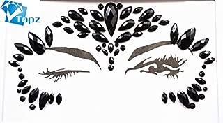 black rhinestone face jewels Adhesive Gems Temporary Tattoo Halloween Party Body Gems Rhinestone Flash Tattoos Stickers (S052)