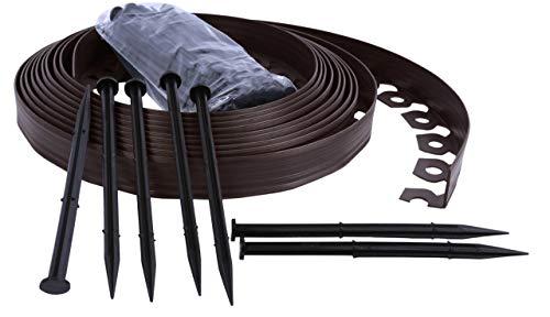Bordo Flessibile da Giardino, Bordo Flessibile per Il Giardino, Bordo da Giardino in plastica, 4cm di Altezza - Marrone 10 Metri + 30 Chiodi di Fissaggio