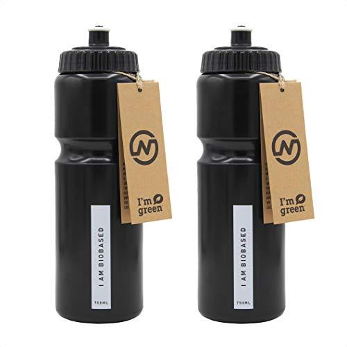 Gym Bottle - Gym Trinkflasche 750ml - Wiederverwendbare Umweltfreundliche Fahrrad-Trinkflasche - BPA Frei Fahrrad Wasserflaschen - Biologische Fahrradflasche zum Radfahren - Mehrere Farben (2-Schwarz)