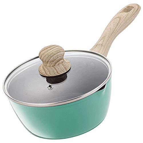 WKDZ Antiadherente Leche Pan con Visible Tapa de Vidrio, Multi-función de Green Pan, Mango Ergonómico de Madera / (tamaño: 18 Cm) (Color : Verde, tamaño : 18cm)