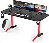 Vitesse 63 inch Gaming Desk, Gaming Computer Desk, PC Gaming Table, T Shaped Racing Style Professional Gamer Game Station with Free Mouse pad, USB Gaming Handle Rack, Cup Holder and Headphone Hook