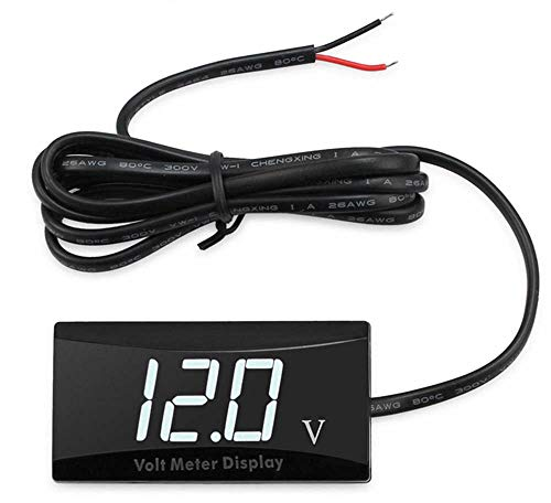 Goldoars Digitale led-voltmeter DC 12V auto digitale voltmeter waterdicht stootvast LED-display voltmeter voor auto motorfiets spanning volt meter gauge Witte LED