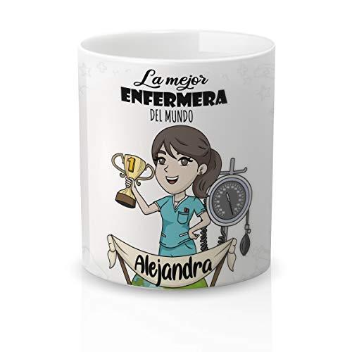 Yujuuu! | Taza Personalizable con Nombre | Taza cerámica para Regalo Original Profesión Enfermera. Resistente 100% al microondas y lavavajillas. (Diseño 04) Frase la Mejor Enfermera.