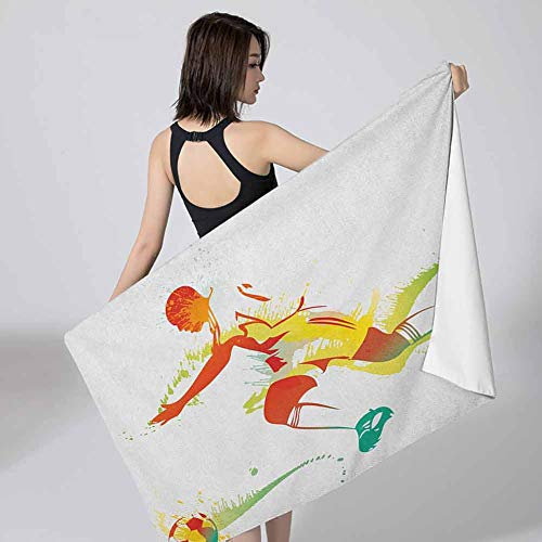 Betsy Barnard Men Bath Wrap Towel Teen Room,Young Man Playing Soccer Football Athlete Game Win Champion Paintbrush Artwork Multicolor for Home Hotel Spa or Gym 27x55 inch