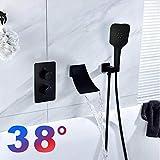 LINXYU Sistema de Ducha,38 ° C Grifos de Ducha Mezclador de Grifo de bañera mezcladores de baño grifos de Temperatura Constante Ocultos Juegos de baño de Ducha Negros, 1