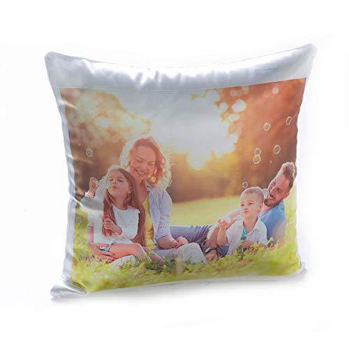 Stampa la Tua Foto su Cuscino Personalizzato, Resistente e Lavabile - Comprende Imbottitura (Bianco, 40...