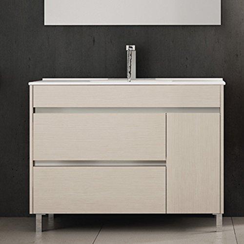 Ducha.es Conjunto 2 Piezas HÉMERA-Mueble de baño y encimera cerámica (100cm, Crema)