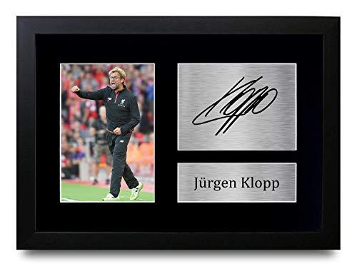 HWC Trading Jurgen Klopp A4 Gerahmte Signiert Gedruckt Autogramme Bild Druck-Fotoanzeige Geschenk Für Liverpool Fußball Fans