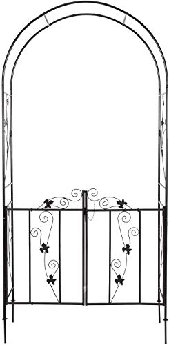 KINTNESS Garden Arch Arbor with Gate Trellis Arbour Archway for Climbing Plants Outdoor Garden Lawn Backyard