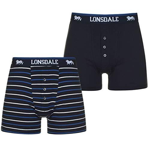 Lonsdale Herren Boxer Shorts Unterhose Unterwaesche 2 Paar Baumwollmischung Marineblau/Streife XL
