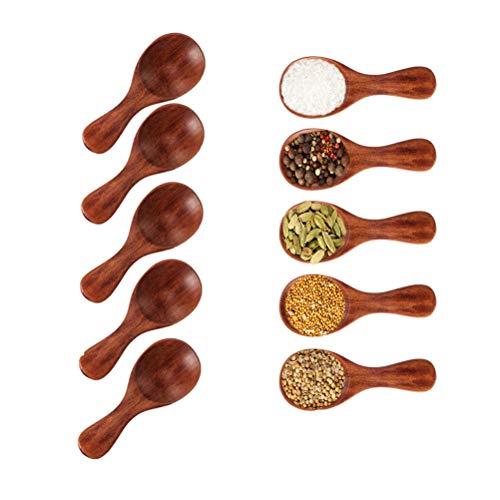 Kleiner Salzlöffel aus Holz-5 Stücke Mini Holzlöffel mit kurzem Griff, ideal für kleine Marmeladengläser, Gewürze, Gewürze, Gewürze, Zucker, Honig, Kaffee, Tee, Senf, Eiscreme, Milchpulver