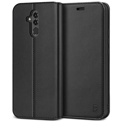 BEZ Handyhülle für Huawei Mate 20 LiteHülle, Tasche Kompatibel für Huawei Mate 20 Lite, Schutzhüllen aus Klappetui mit Kreditkartenhaltern, Ständer, Magnetverschluss, Schwarz