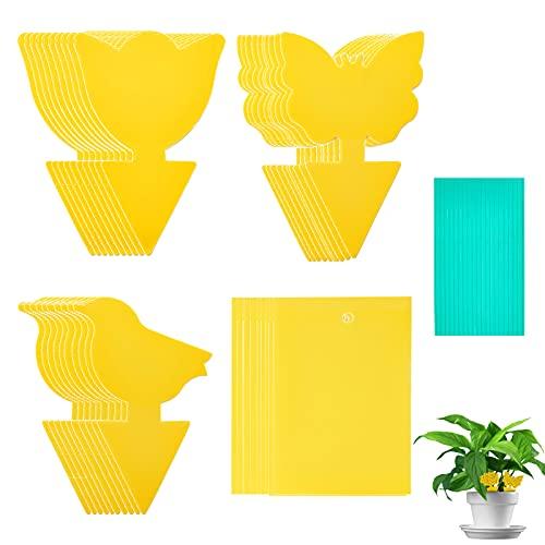 50pcs Gelbsticker Fliegenfänger, Gelbtafeln Trauermücken Bekämpfen, Fruchtfliegenfalle perfekt bekämpfen Blattläuse, Thripse, weiße Fliegen für Blumenerde Zimmerpflanzen zu Hause oder auf dem Balkon