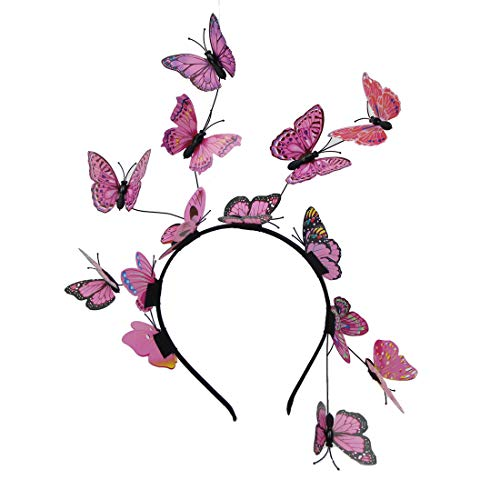 Fascinator Butterfly Headband Derby Hat Festival Halloween Costumes Accessories Wedding Headpiece (Pink)