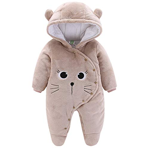 Baby Winter Fleece Overall Mit Kapuze Mädchen Jungen Schneeanzüge Warm Strampler Outfits Khaki 6-9 Monate (73)