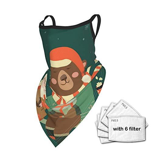 WAUKaaa Gesichtsschal, Bandana, Halstuch, Weihnachtsmann, spielende Gitarre, für den Bär, Erwachsene, dreieckige Ohrabdeckung mit 6 Filtern