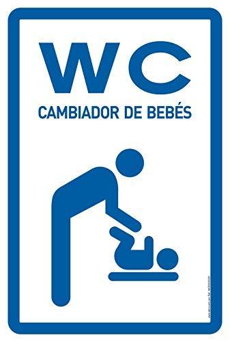 akrocard - Cartel Resistente PVC - WC CAMBIADOR DE BEBÉS - Señaletica de informacion - señal Ideal para Colgar y Advertir para comercios, tiendas, locales