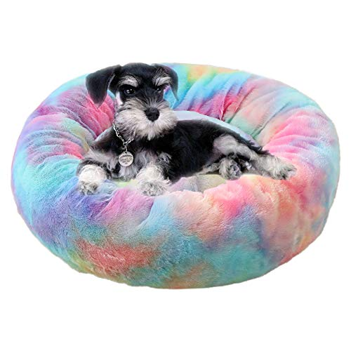 BEISIJIA Dog Cat Bed Donut Cuddler Nest Round Soft Cozy Fluffy Puppy Cats Cushion Bed Washable Pet Sleeping Bed Mat for Small Medium and Large Dogs Cats(16''/20''/24'')