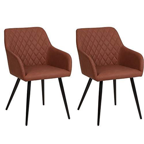 Nimara Thor Set van 2 kunstleren stoel met armleuning, lederen stoelen met armleuning, stoel, Scandinavisch design, armleunstoel, eetkamerstoelen voor de eettafel bruin