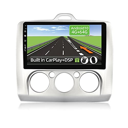 YUNTX Android 10 2 Din Autoradio Adatto per Ford Focus(2006-2011)-4G+64G-[Integrato CarPlay/Android auto/DSP]-Gratuiti 4LED Camera-Supporto DAB/Controllo del Volante/360 Camera/Bluetooth/MirrorLink