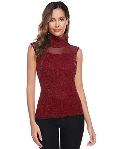 Akalny T-shirt dames elegant blouse mouwloos mesh shirt met kraag top blouse