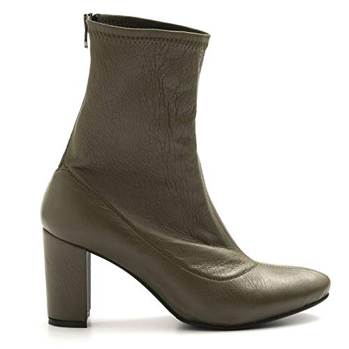 L'Arianna - Olive Green Stretch Leather Booties - EL 3002NAPPA Verde - 40
