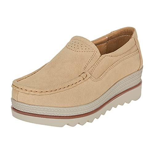 URIBAKY - Zapatillas de ocio para mujer, con plataforma redonda, para running, running en carretera, running, fitness, transpirables, (caqui), 39 EU