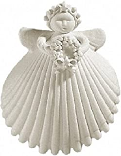 Margaret Furlong Wreath Angel Made in USA Porcelain Christmas Ornament