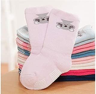 Lovely Socks 6 Pairs Children Cotton Socks Kids Autumn and Winter Cartoon Animals Anti-Slip Terry Mid Tube Socks (Light Blue) Newborn Sock (Color : Lavender)