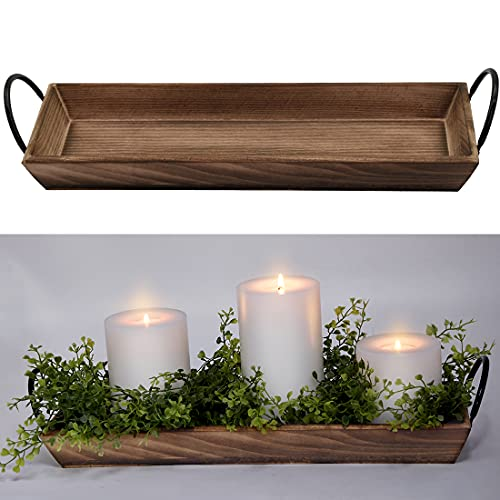 AGLARY Rectangle Wood Candle Tray with Black Metal Handles, Rustic Wood Candle Holder for Displaying Candles,Centerpieces for Dining Table,Mantel, Coffee Table