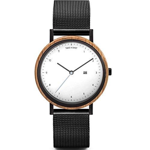 TAKE A SHOT Holzuhr - Holz Armbanduhr für Damen mit Datumsanzeige, Damenuhr mit Gehäuse aus Holz, Metallarmband schwarz, Durchmesser 37 mm, Amber
