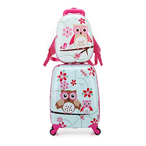2pcs Children Rolling Suitcase Animal Cartoon Pattern Carry On Set with Universal Wheels 18 in with 13 in Cute Cartoon Shoulder Bag Travel Luggage Case Set (owl, 18' and 13')