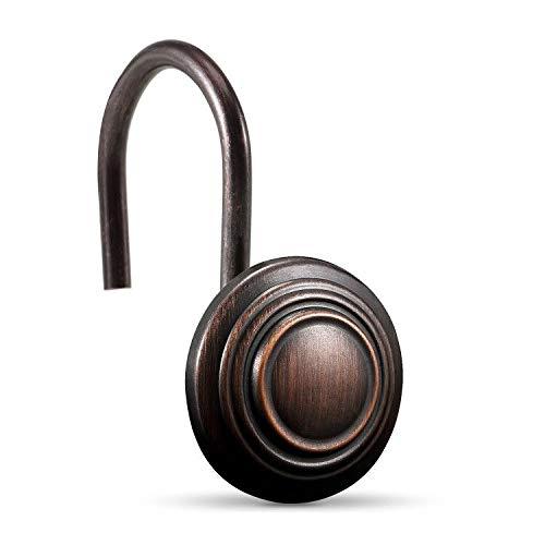 CHICTIE Bronze-Duschvorhang-Haken, ölgerieben, Set mit 12 r&en dekorativen Duschvorhang-Ringen, Metall, rostfrei, Duschvorhanghaken für Badezimmer (ölgeriffelte Bronze)
