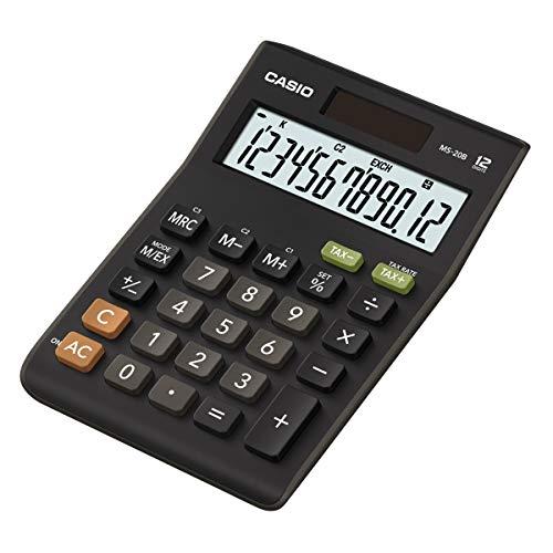 CASIO Tischrechner MS-20B, 12-stellig, Steuerberechnung, Währungsumrechnung, Vorzeichenwechsel, Solar-/Batteriebetrieb