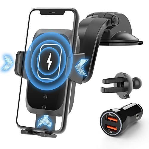 Lidasen Auto Handyhalterung mit 15W Qi Ladestation, Upgrade Sensor Schnellladen Ladegerät QC3.0 Adapter + Lüftungsclips für iPhone Samsung Huawei, 4 in 1 Wireless Charger Handy Kfz Halterungen