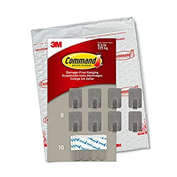Command Small Stainless Steel Metal Hooks 8 Hooks 10 Strips Decorate Damage-Free