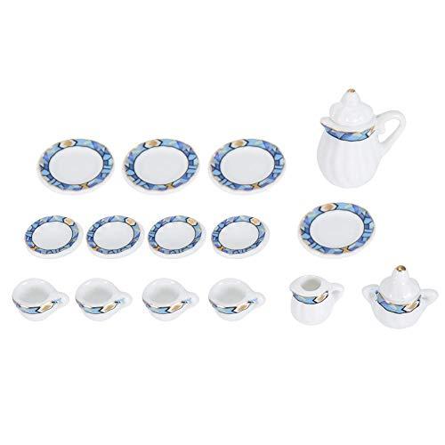 1:12 Puppenhaus Zubehör, 15 stücke Mini Porzellan Blume Teetasse Set Puppenhaus Dekor Küche Miniatur Simulation Möbel Set Modell für Jungen Mädchen Puppenhäuser(Krawatte 2)