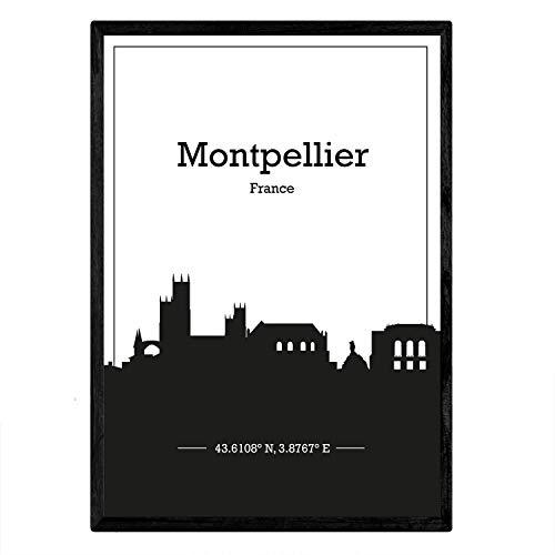 Nacnic Poster con Mapa de Montpellier - Francia. Láminas con Skyline de Ciudades de Francia con Sombra Negra. Tamaño A4