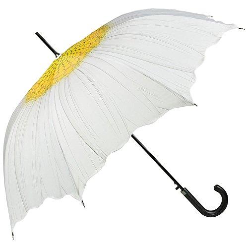 VON LILIENFELD® Regenschirm Auf-Automatik Damen Blume Stockschirm Stabil Wellenkante Margerite