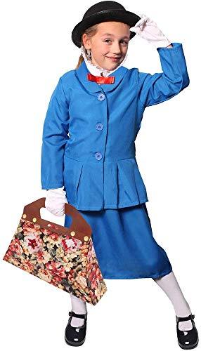 costume da bambinaia magico per ragazze - giacca blu + gonna, cappello a bollino + guanti bianchi + borsa in cartone (X-Grande)
