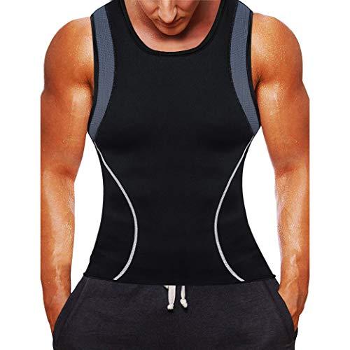 Rugsteungordel Mens Afslanken Vest HOT shirt Fitness Weight Loss Sweat Sauna Suit Taille Trainer Body Shaper Neoprene Tank Top met rits brace Lumbale (Color : Black grey MESH, Size : XL)