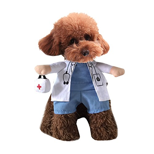 Mikayoo Pet Dog Cat Halloween Costume Doctor Nurse Costume Dog Jeans Clothes Cat Funny Apperal Outfit Uniform(Doctor,M)