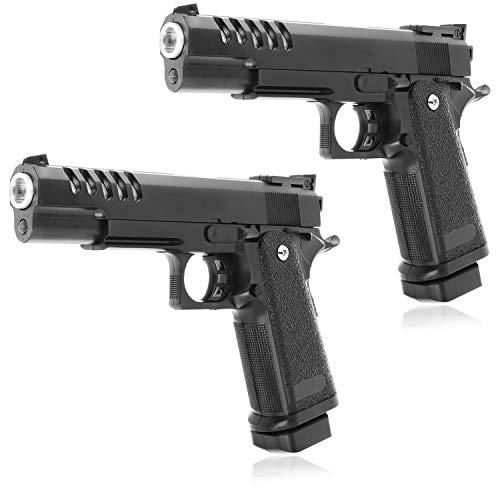 Unbekannt 2 Pistolas de Juguete Airsoft para niños y Adolescentes, Armas de Juguete con Cargador para Carnaval, Halloween y Carnaval, con Cuentas de plástico. (2 Piezas)